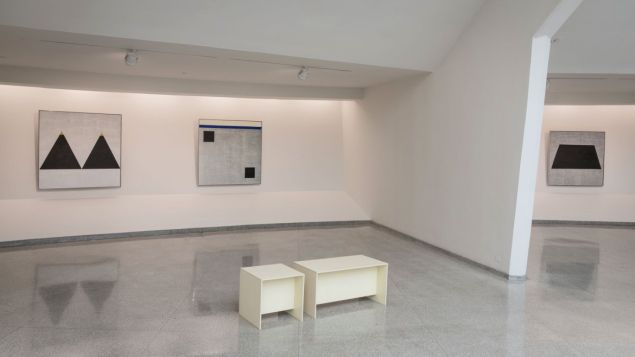 "Installation view of ""Agnes Martin."""