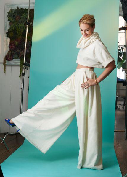 Lisa Salzer in bridal pants.