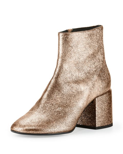 MM6 Maison Martin Margiela, Metallic Leather Chunky-Heel Bootie in Copper, $540