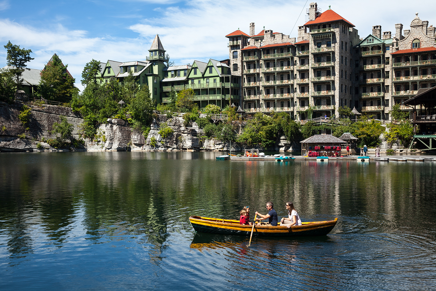 The glacial-formed Lake Mohonk boasts boating, fishing, paddleboarding and swimming.