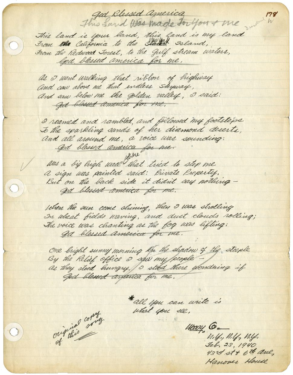 Woody Guthrie's song lyrics.