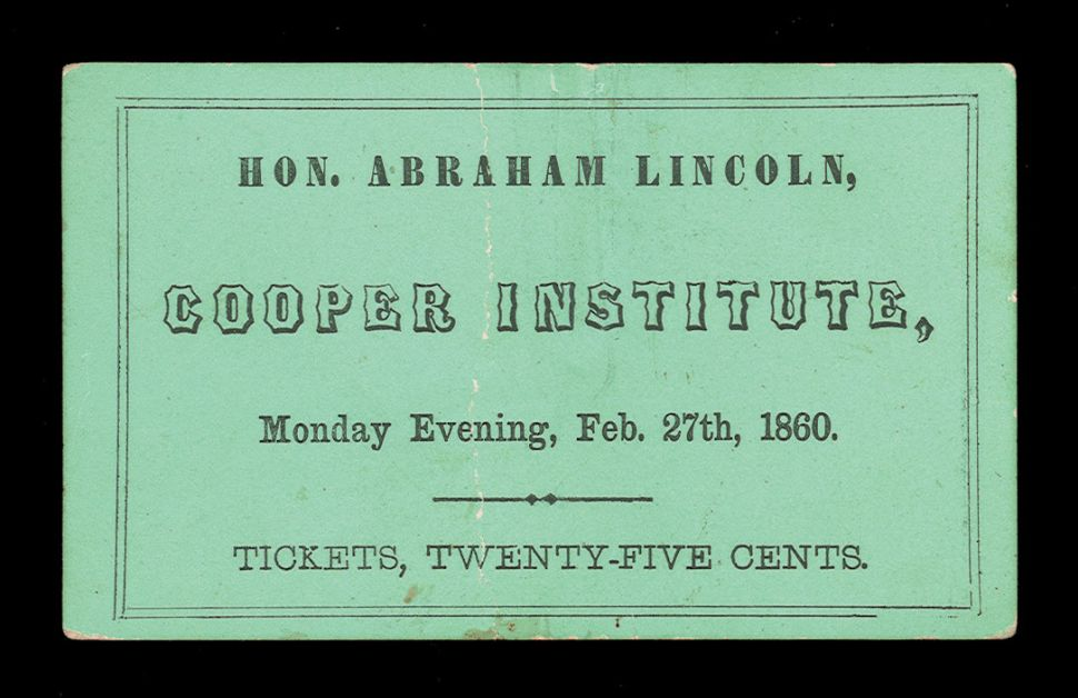 Ticket to Abe Lincoln's speech, 1860.
