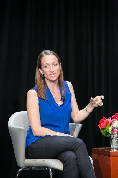 Céline Cousteau speaks at a panel held by The Onassis Foundation.