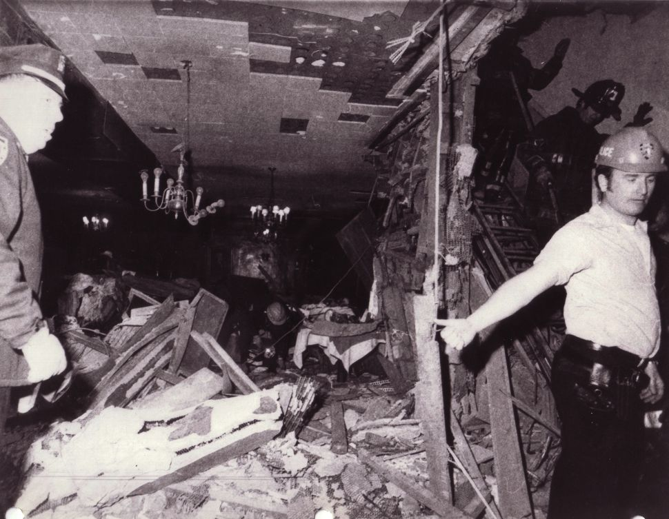 In 1975, FALN, a Puerto Rican nationalist terrorist group, bombed Fraunces Tavern in Lower Manhattan. A Crime Scene Unit photo captures the battered interior of the tavern soon after the blast.