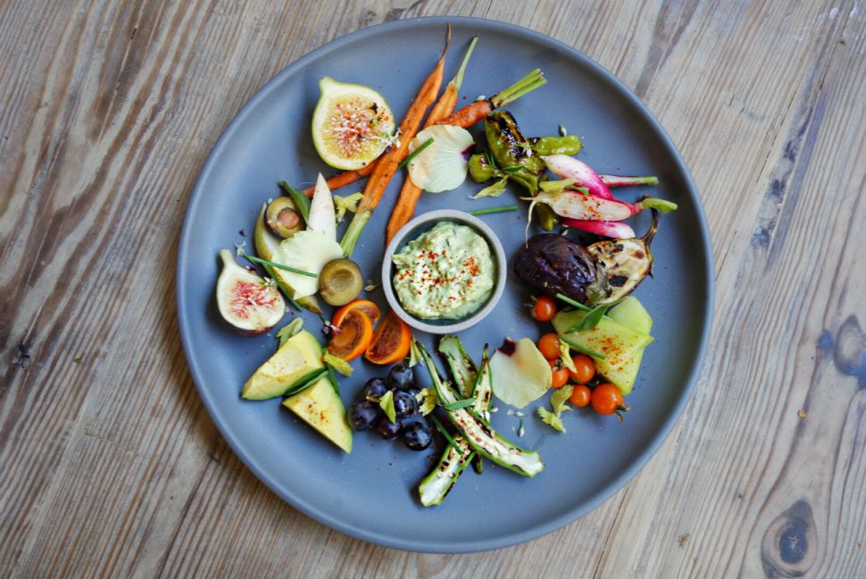 P.Y.T. serves a rainbow of raw and cooked vegetable crudites.
