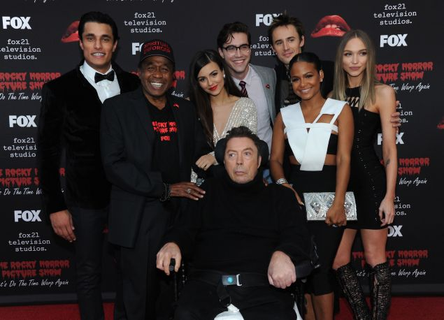 L-R: Cast members Staz Nair, Ben Vereen, Victoria Justice, Tim Curry, Ryan McCartan, Reeve Carney, Christina Milian and Ivy Levan arrive at THE ROCKY HORROR PICTURE SHOW: Let's Do The Time Warp Again (and Transylvanians!) premiere party red carpet at The Roxy.