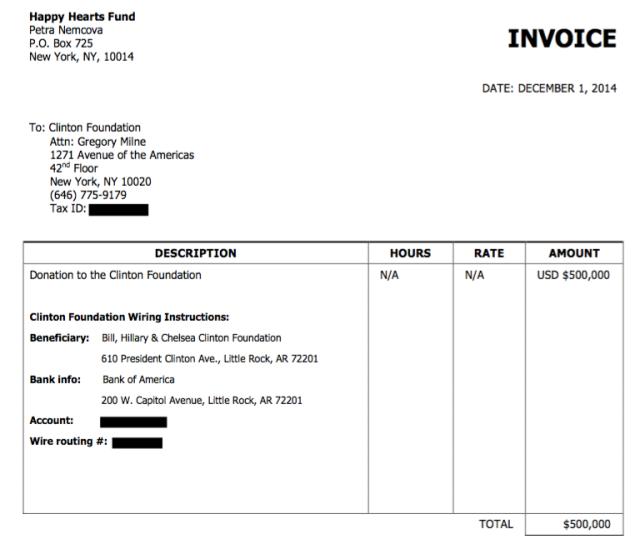 Clinton Foundation Happy Hearts invoice