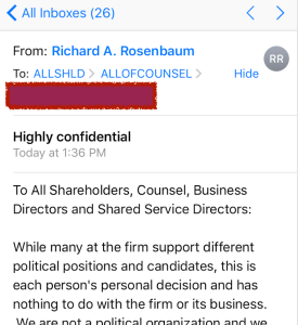 The email from Greenberg's Executive Chairman Richard A. Rosenbaum was sent at 1:36 pm today.
