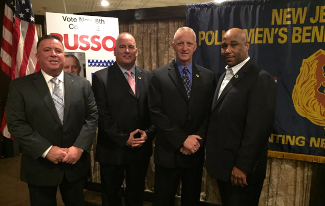 From Left to Right: Ed Donnelly NJ State FMBA President, Pat Colligan NJ State PBA President, Candidate for Somerset County Sheriff Darrin Russo and NOBLE Northern New Jersey Chapter President Jiles Ship.
