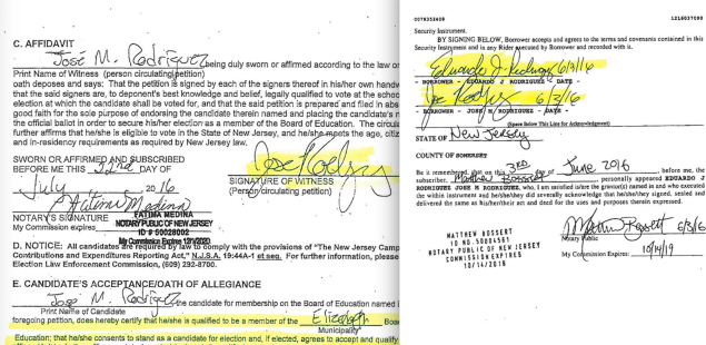 Rodriguez's signature on his nominating petition for reelection, left, and on the mortgage for the Warren property.