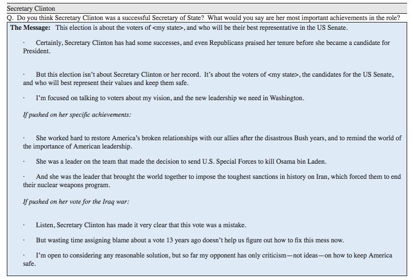 Talking points for Democratic Senate candidates.