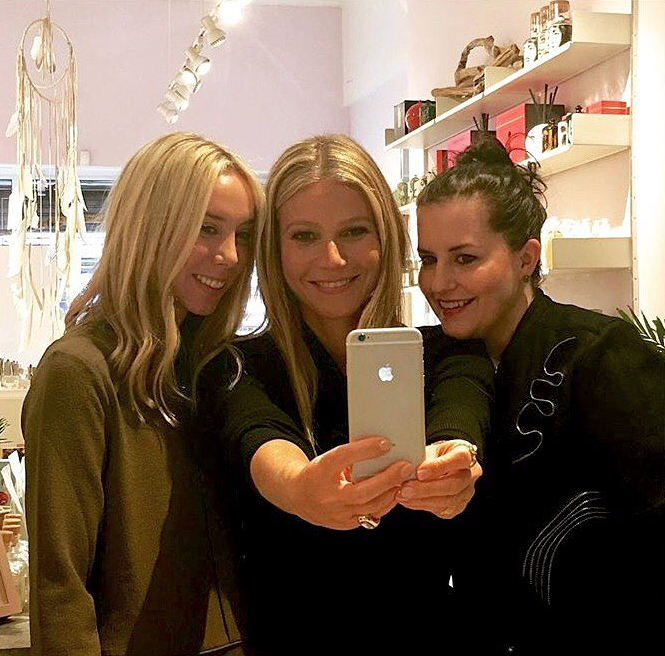 Gwyneth Paltrow taking a selfie at Shen Beauty.