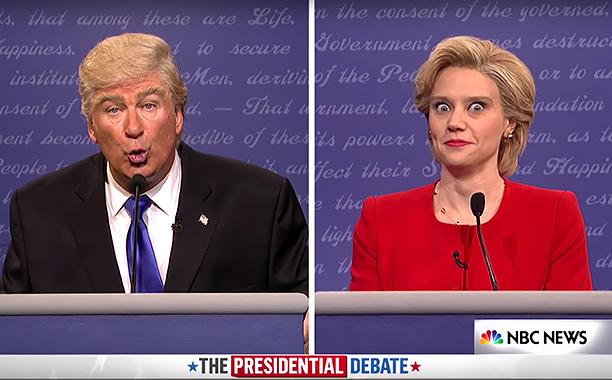 Kate McKinnon as Hillary Clinton, and Alec Baldwin as the orange one.