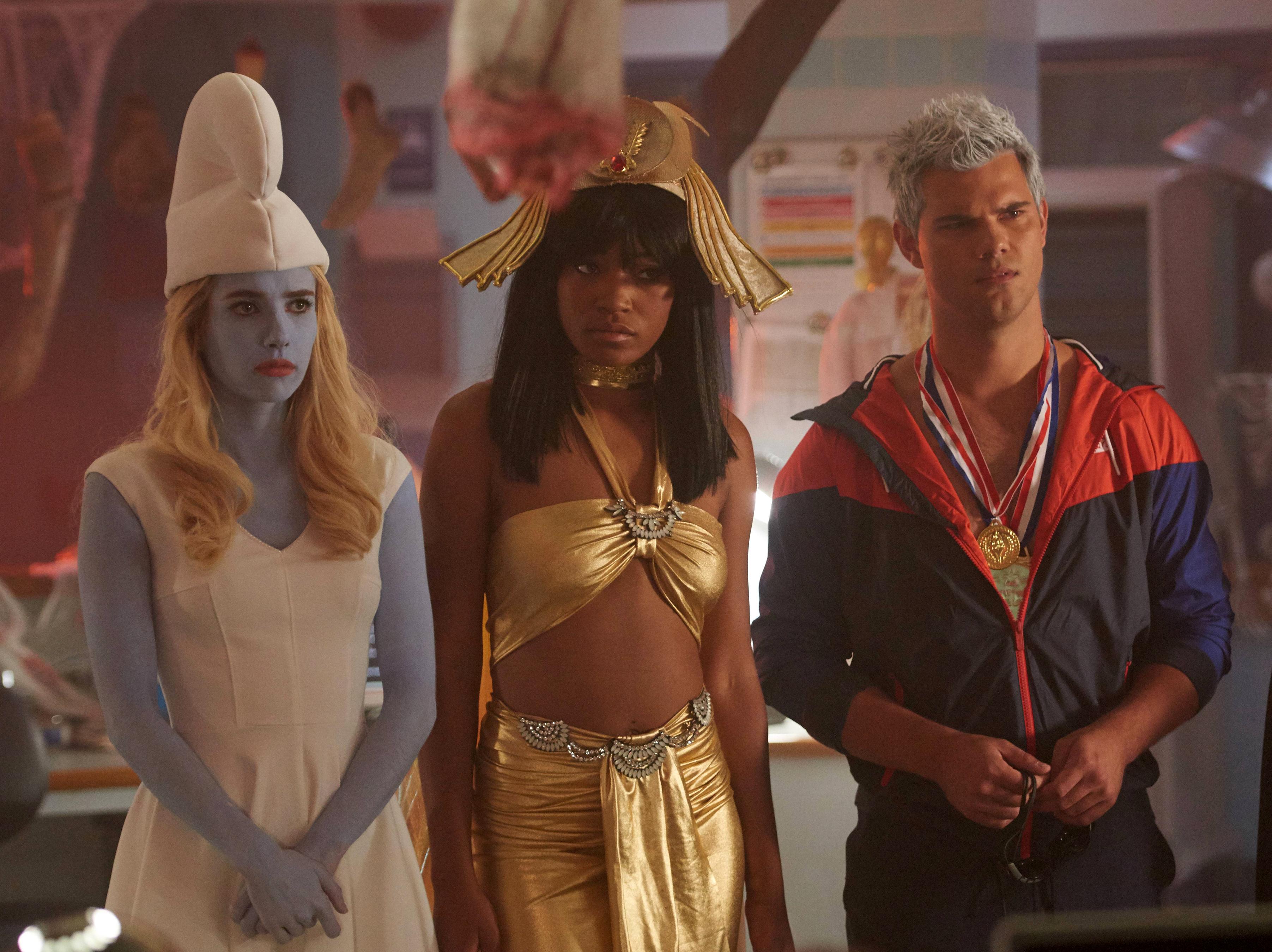 Emma Roberts, Keke Palmer and Taylor Lautner in Scream Queens.