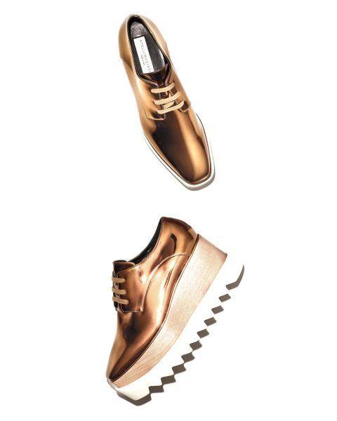Stella McCartney, Elyse Metallic Platform Creeper, Old Gold, $950