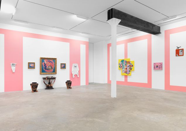 """Installation view of """"Velvet Rage, Flaming Youth, and the Gift of Desperation"""" at James Fuentes."""