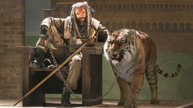 Ezekiel and his tiger (which is not a zombie...as far as we know?)