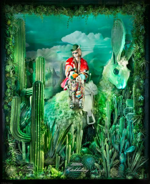 A Roberto Cavalli design sits in the Wild West themed window, titled The Hitch Hiker.
