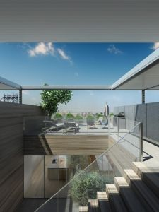 The duplex features a private roof terrace.