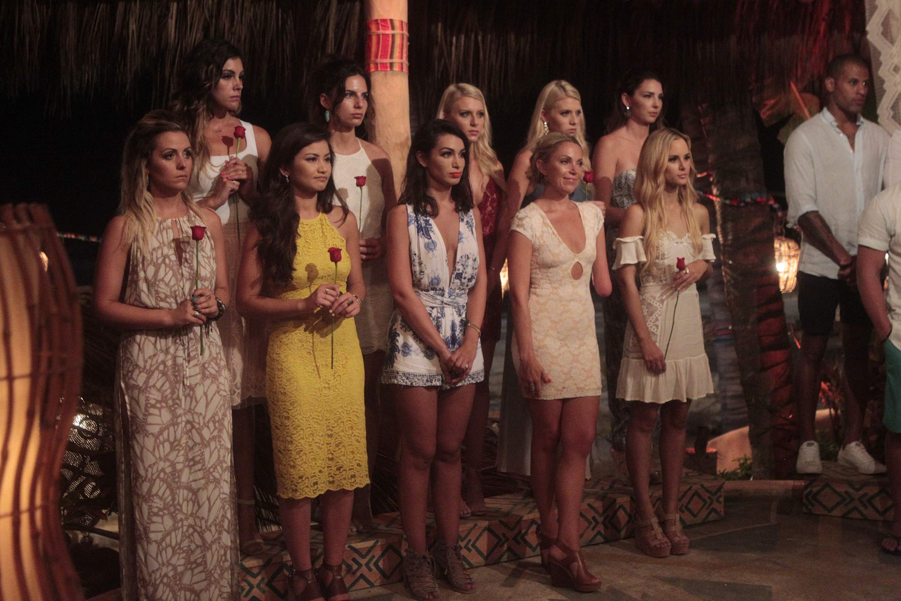 "BACHELOR IN PARADISE - ""Episode 303B"" - In ""Episode 303B,"" which airs TUESDAY, AUGUST 16 (8:00-9:00 p.m. EDT), the story picks up as our remaining cast members are shocked to see that an infamous drama queen has arrived in Paradise! This determined bachelorette is ready to find love and put the drama, her ex and the tears behind her for good! But the best laid plans often go awry, and, as she walks into paradise, she is confronted with her worst nightmare: her ex has met someone else, and she will have to watch from the sidelines as he finds love with another woman. (ABC/Rick Rowell) CARLY WADDELL, LACE MORRIS, CAILA QUINN, ISABEL GOODKIND, ASHLEY IACONETTI, HALEY FERGUSON, SARAH HERRON, EMILY FERGUSON, JENNIFER SAVIANO, AMANDA STANTON, GRANT KEMP"