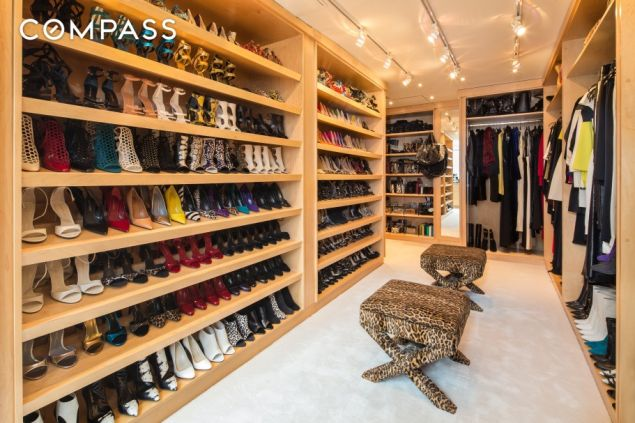 A shoe closet the size of many a studio apartment.