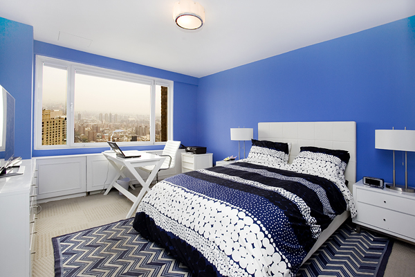 That is one blue bedroom.