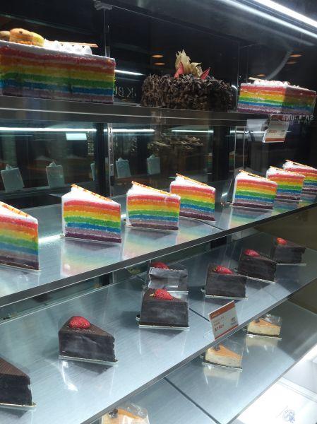 Delicious rainbow cakes at Sevva.