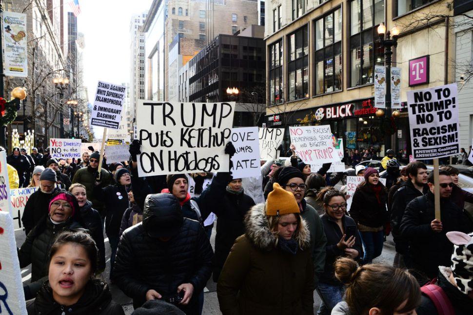 Anti-Trump protesters.