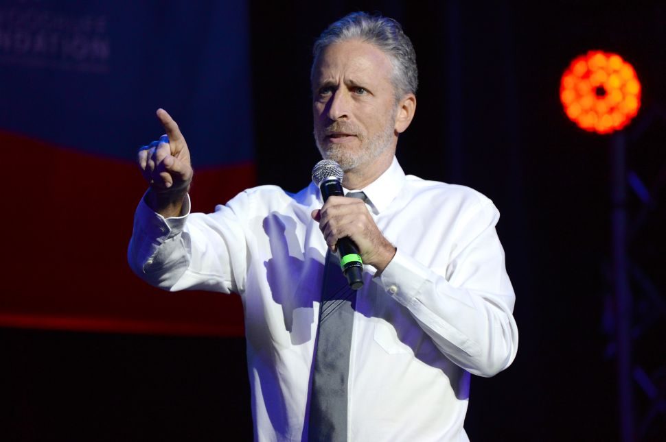 Jon Stewart performs on stage at the 10th Annual Stand Up for Heroes event. New York City.