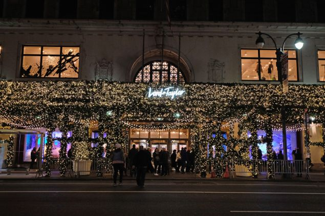 The exterior of Lord & Taylor, decorated for the holidays.