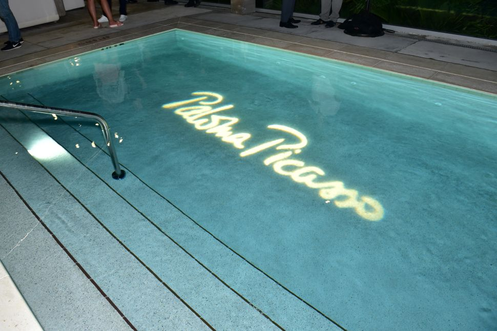 A pool emblazoned with the Ms. Picasso's name