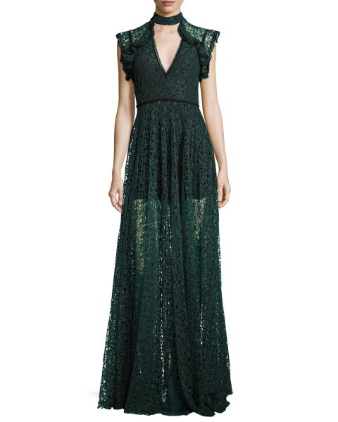 Alexis, Eleanora Lace Cap-Sleeve Gown, $935