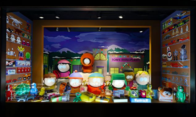 The South Park windows at Barneys.