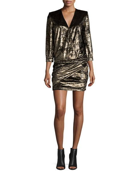 ba&sh, Galaxie Metallic Draped-Front Minidress, $530