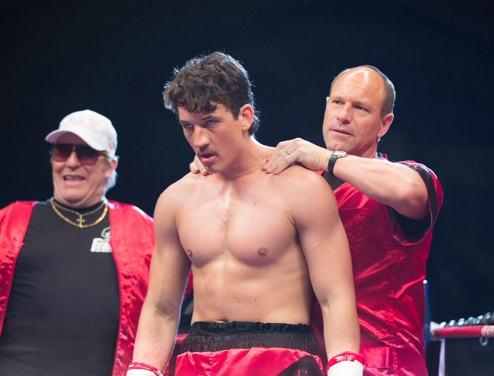 (L-R) Ciaran Hinds, Miles Teller and Aaron Eckhart in Bleed for This.