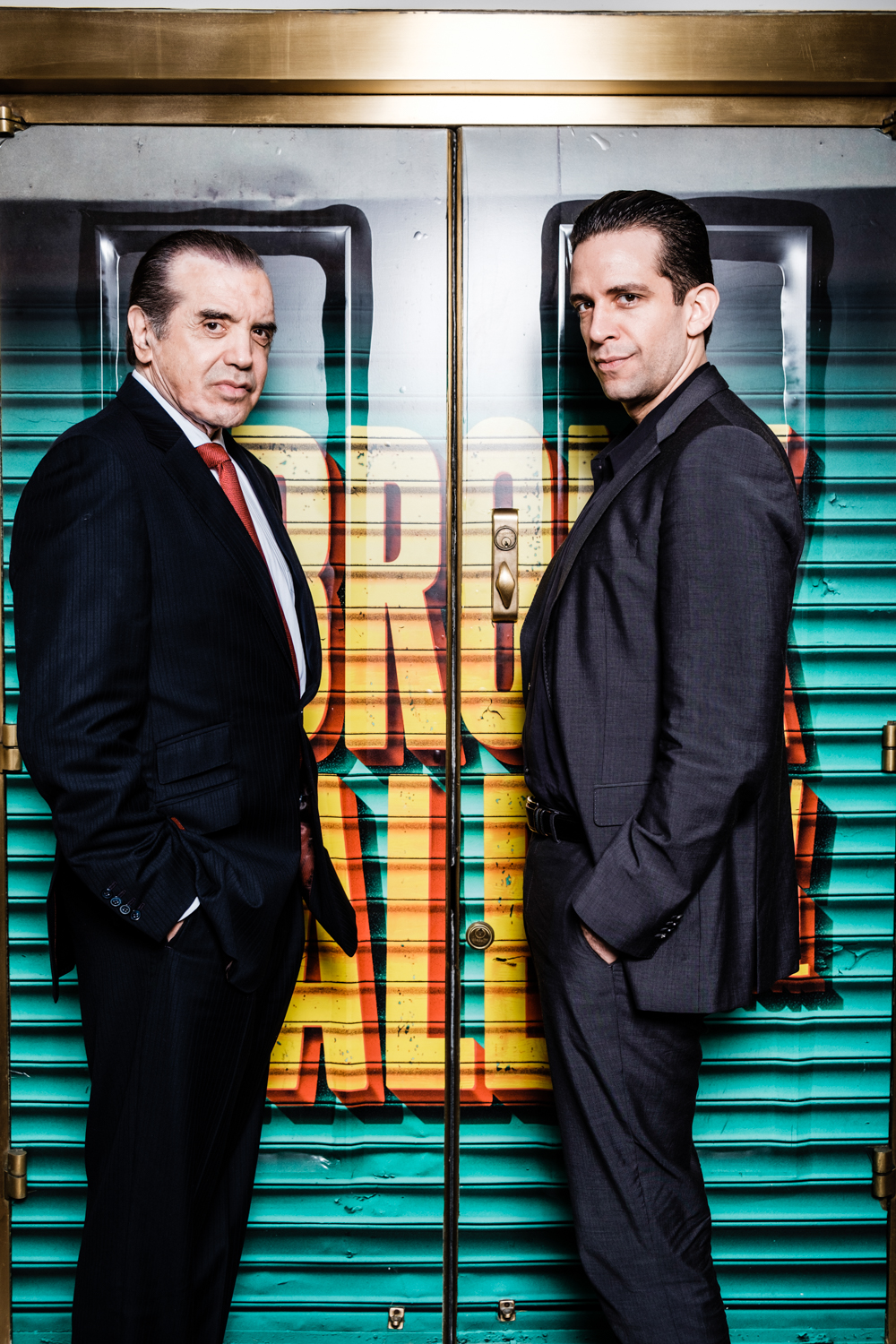 Chazz Palminteri.and Nick Cordero at the Longacre Theatre in New York City.