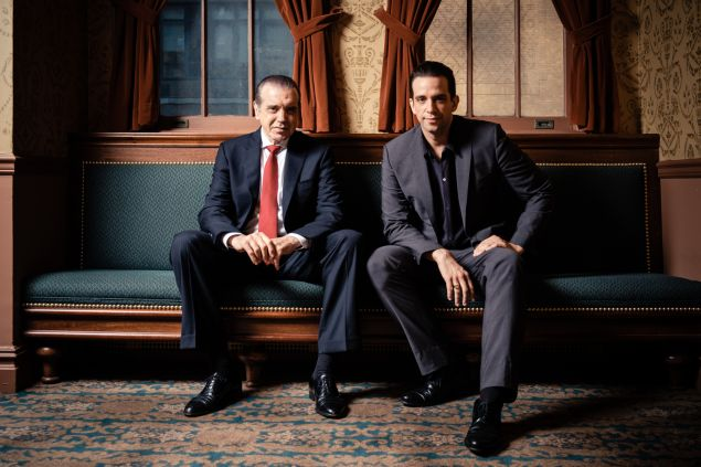 Chazz Palminteri.and Nick Cordero at the Longacre Theatre in New Yor City.