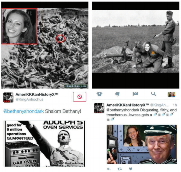 A sampling of anti-Semitic images and tweets sent to Bethany Mandel.