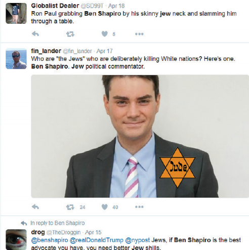 A sampling of the ant-Semitic comments sent to Ben Shapiro.
