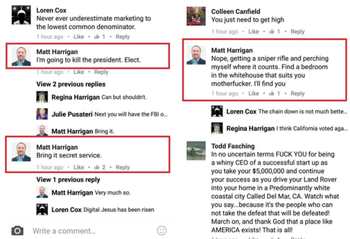 Most comments on Harrigan's post tried to (sometimes profanely) talk him out of it.