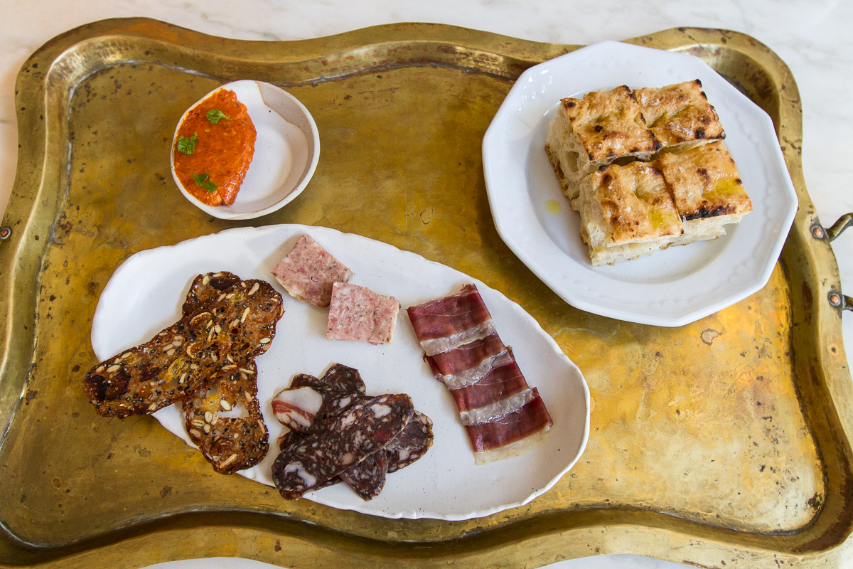Charcuterie and focaccia