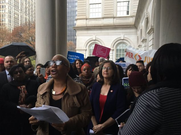 Councilwoman Laurie Cumbo speaks during the Women's Caucus rally.
