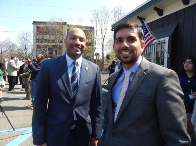 Akhter, right, with Freeholder TJ Best.