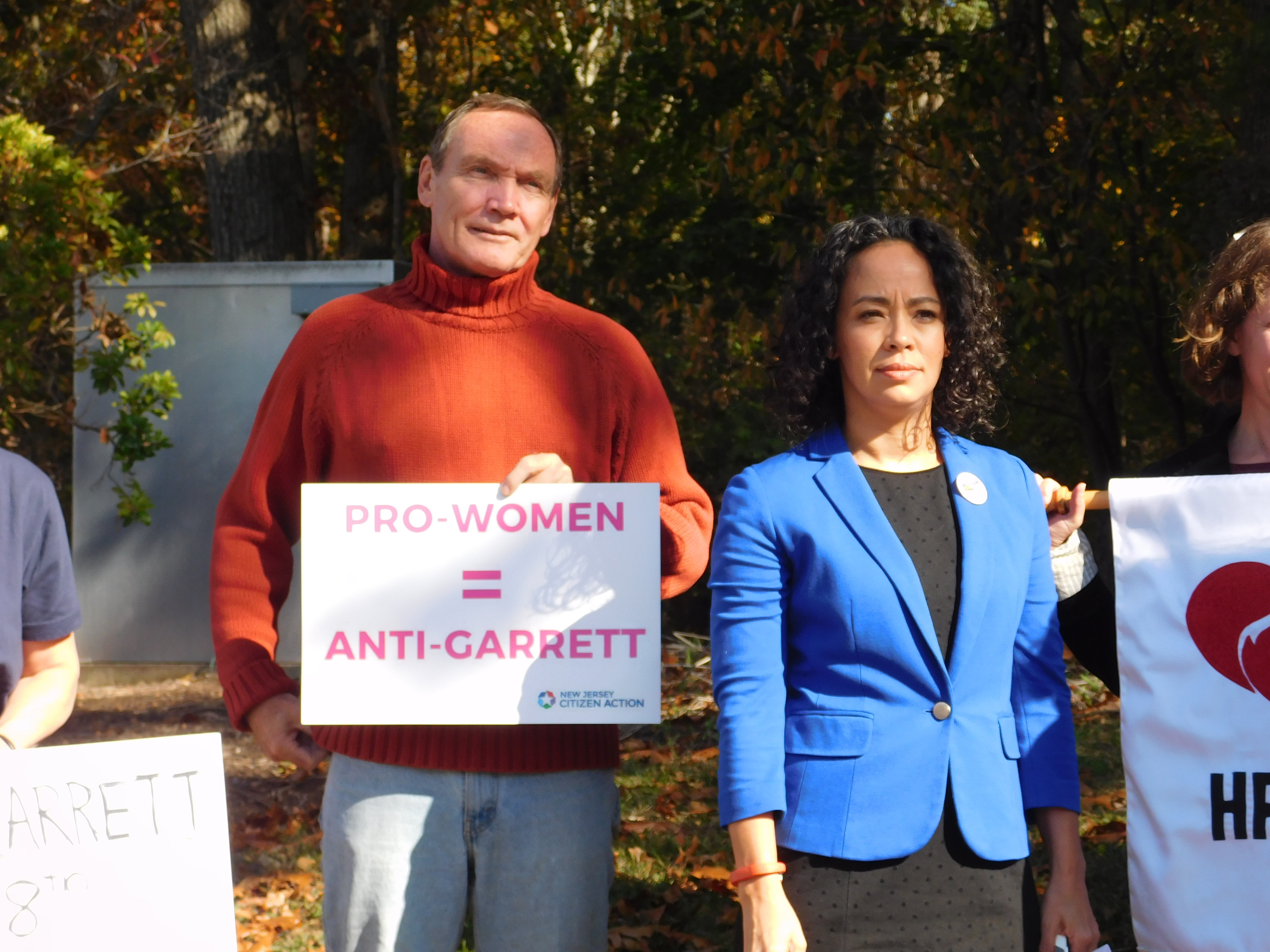 Tim Eustace and Milly Silva at the Paramus rally calling for voters to 'fire' Rep. Scott Garrett.