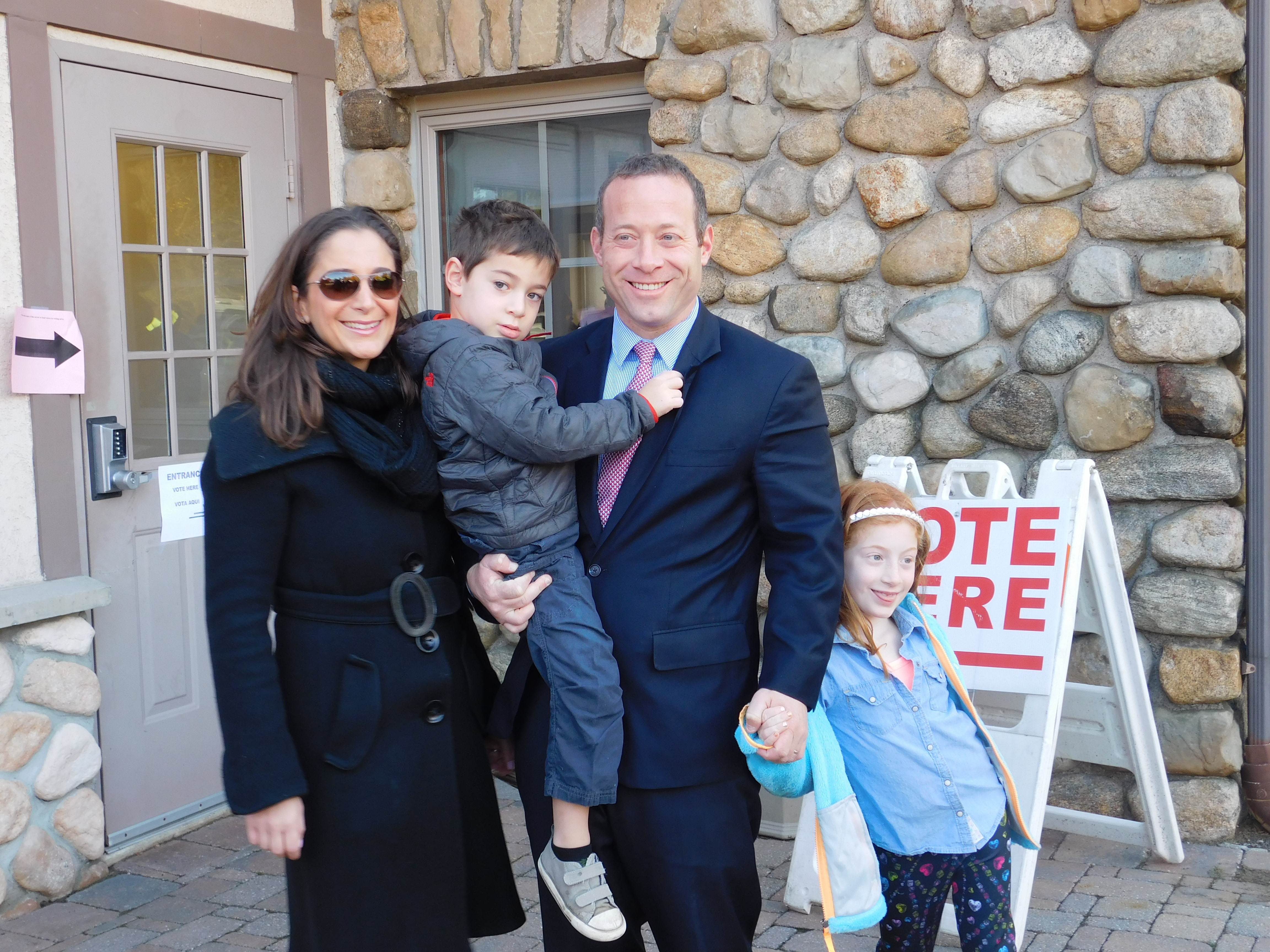 Gottheimer and his family arrive at a Wyckoff polling location.
