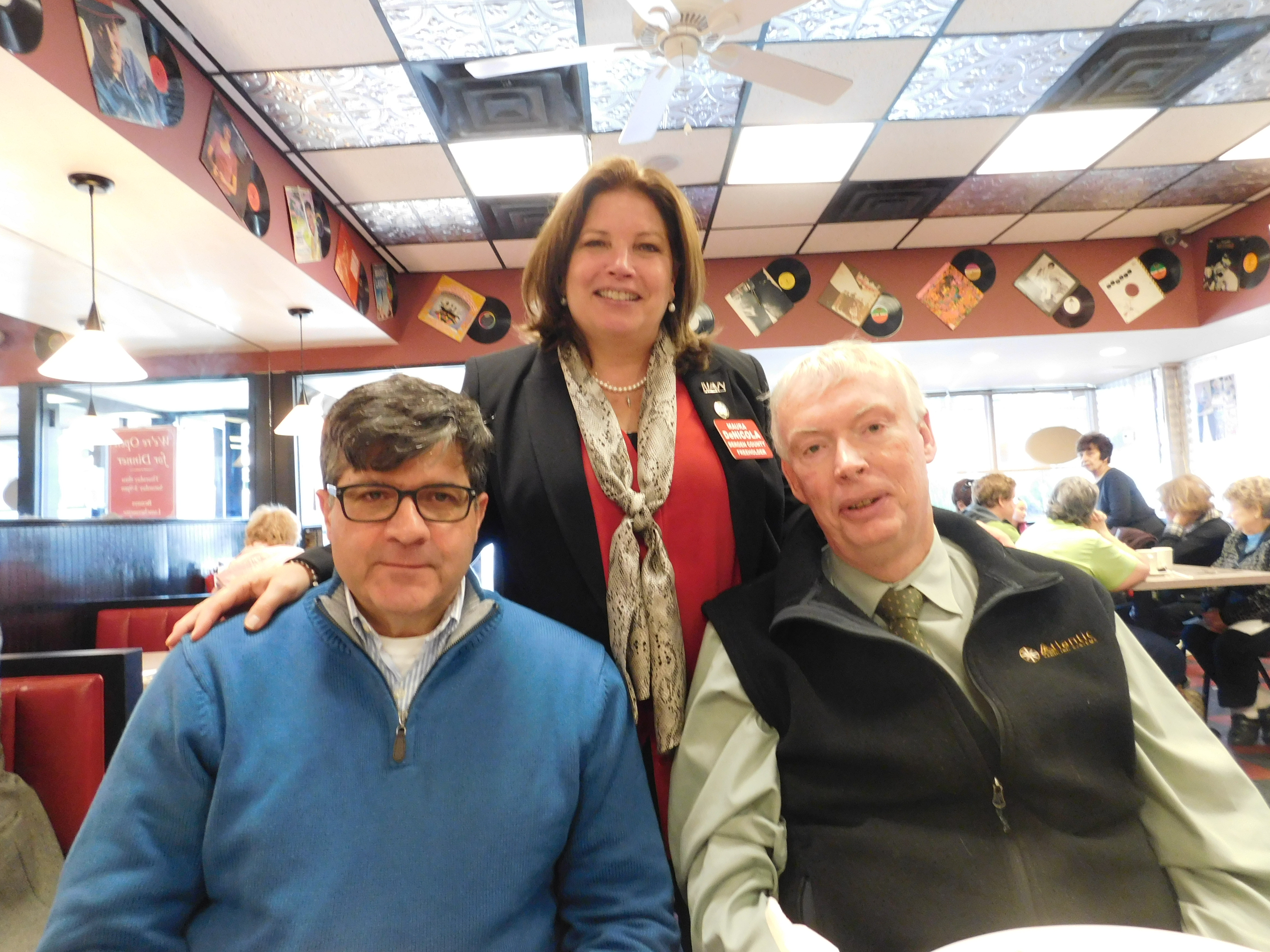 Feeholder DeNicola, Phil DeNicola and Fair Lawn Mayor John Cosgrove at Benny's in Fair Lawn on the morning of Election Day.