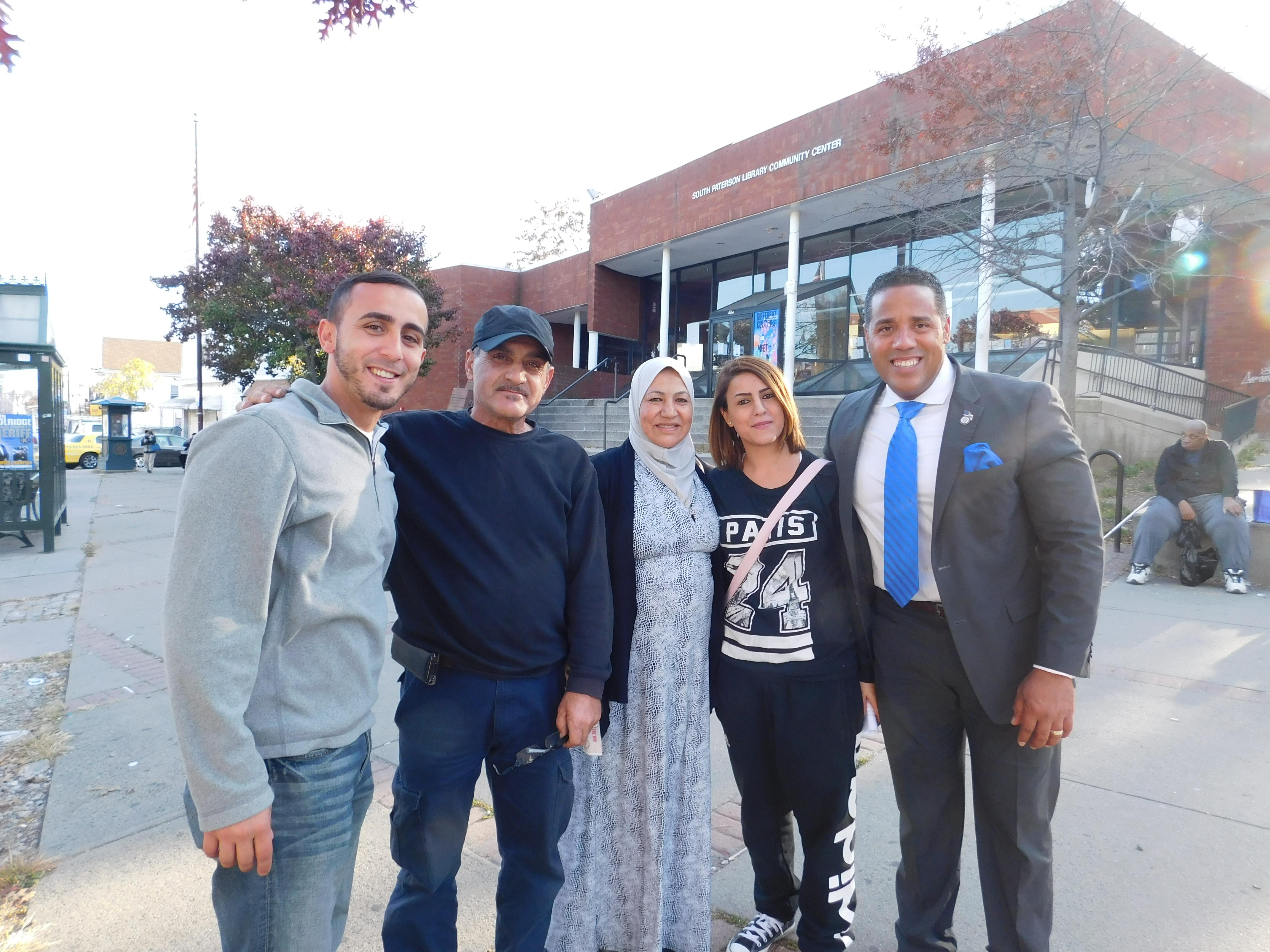 From left: Al Abel-aziz, Abdul Basuf, Rana Basuf, Nafisseh Basuf and Counilman Alex Mendez.