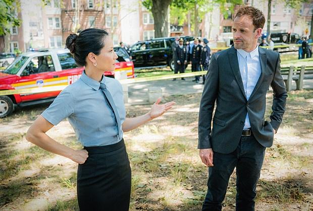 Lucy Liu as Joan Watson and Jonny Lee Miller as Sherlock Holmes.