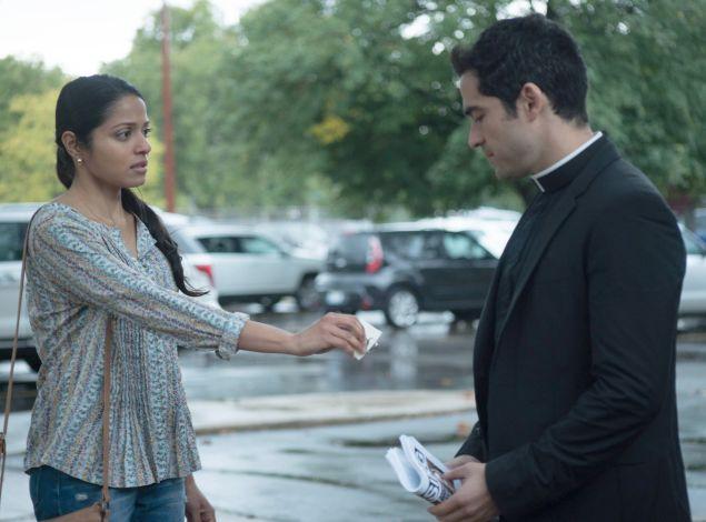 Mouzam Makkar and Alfonso Herrera in The Exorcist.
