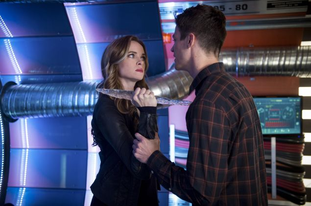 Danielle Panabaker as Caitlin Snow/Killer Frost and Grant Gustin as Barry Allen.